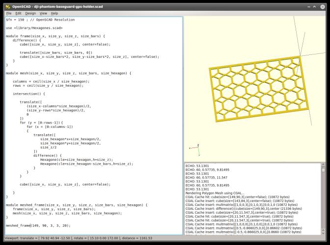 OpenSCAD Modul für einen Rahmen mit Gitter-/Zaun-/Hexagon-Füllung