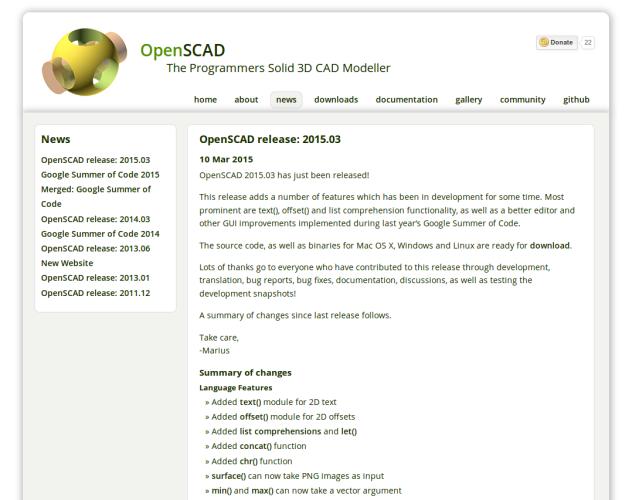 Neue OpenSCAD Version 2015.03 erschienen
